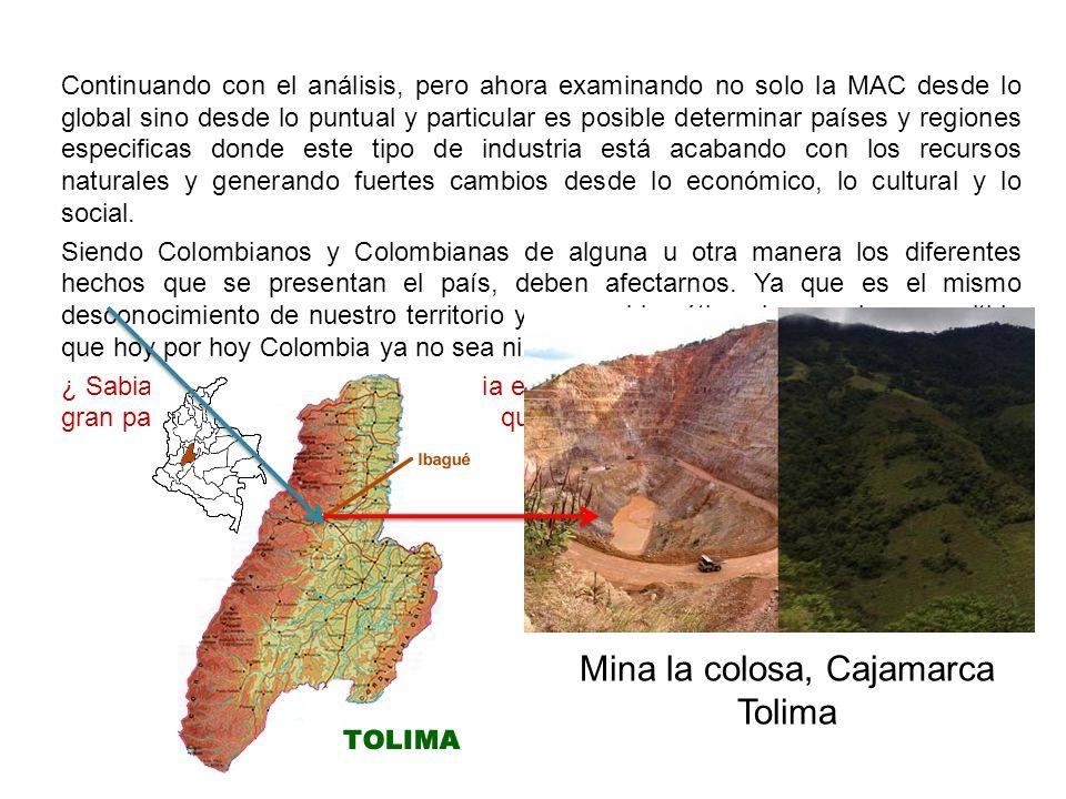 Mina la colosa, Cajamarca Tolima