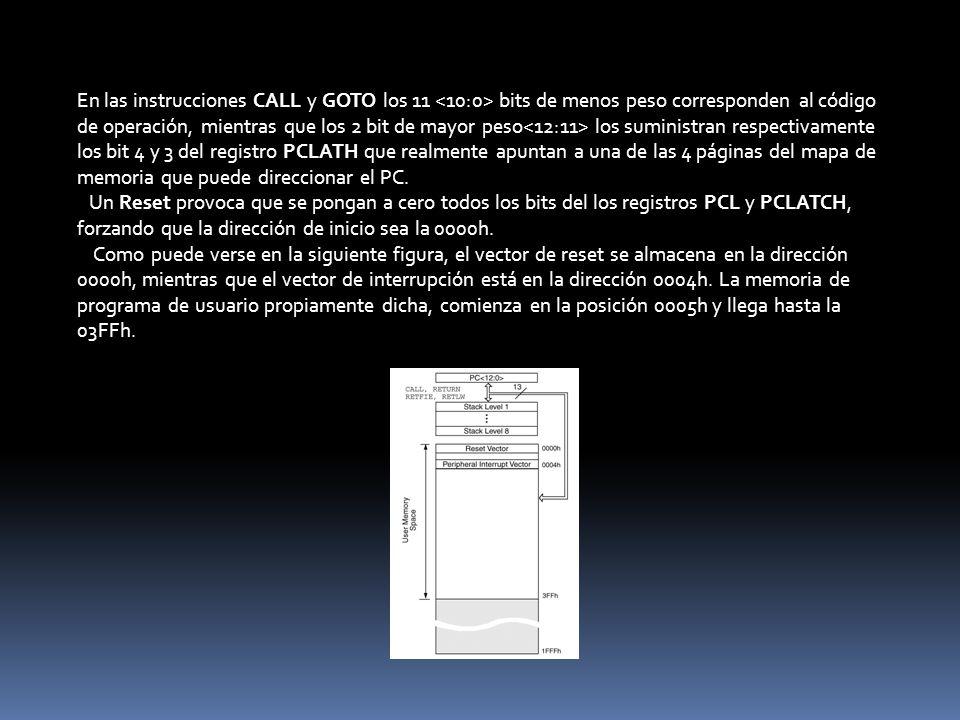 En las instrucciones CALL y GOTO los 11 <10:0> bits de menos peso corresponden al código de operación, mientras que los 2 bit de mayor peso<12:11> los suministran respectivamente los bit 4 y 3 del registro PCLATH que realmente apuntan a una de las 4 páginas del mapa de memoria que puede direccionar el PC.