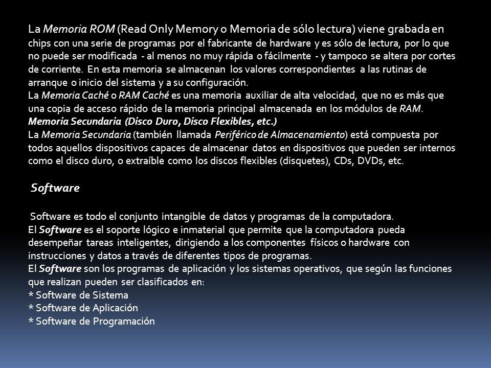 La Memoria ROM (Read Only Memory o Memoria de sólo lectura) viene grabada en chips con una serie de programas por el fabricante de hardware y es sólo de lectura, por lo que no puede ser modificada - al menos no muy rápida o fácilmente - y tampoco se altera por cortes de corriente. En esta memoria se almacenan los valores correspondientes a las rutinas de arranque o inicio del sistema y a su configuración.