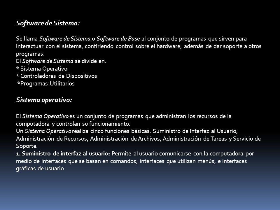 Software de Sistema: Sistema operativo: