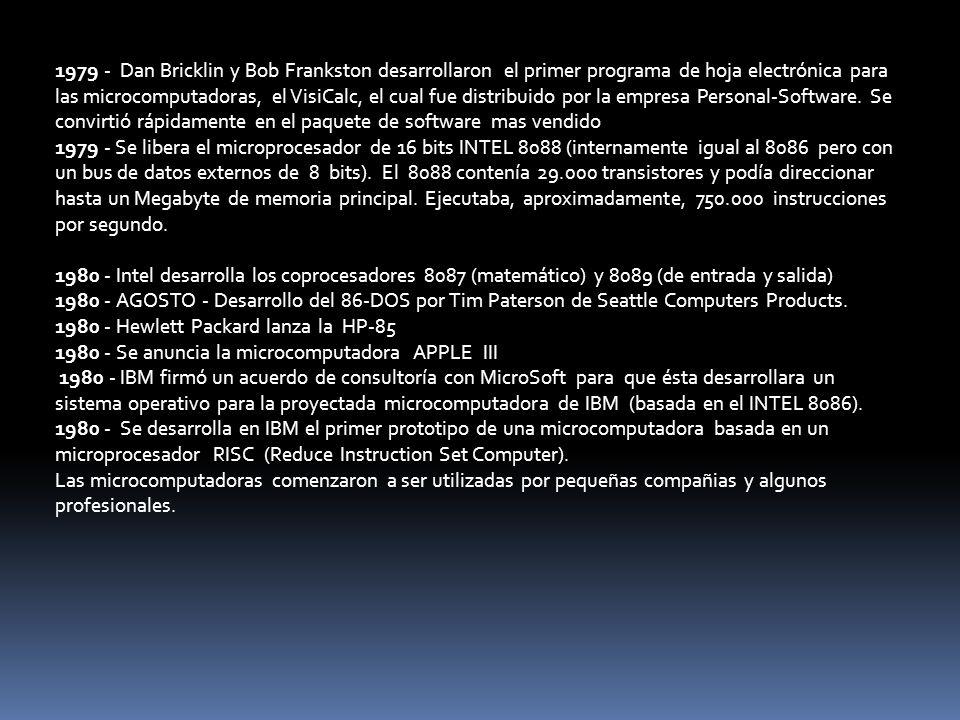 1979 - Dan Bricklin y Bob Frankston desarrollaron el primer programa de hoja electrónica para las microcomputadoras, el VisiCalc, el cual fue distribuido por la empresa Personal-Software. Se convirtió rápidamente en el paquete de software mas vendido