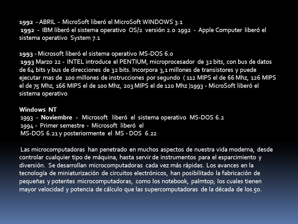 1992 - ABRIL - MicroSoft liberó el MicroSoft WINDOWS 3.1