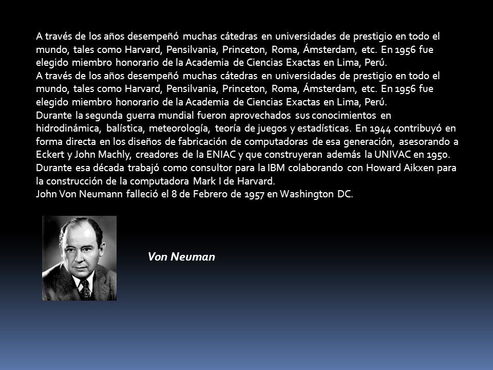 A través de los años desempeñó muchas cátedras en universidades de prestigio en todo el mundo, tales como Harvard, Pensilvania, Princeton, Roma, Ámsterdam, etc. En 1956 fue elegido miembro honorario de la Academia de Ciencias Exactas en Lima, Perú.