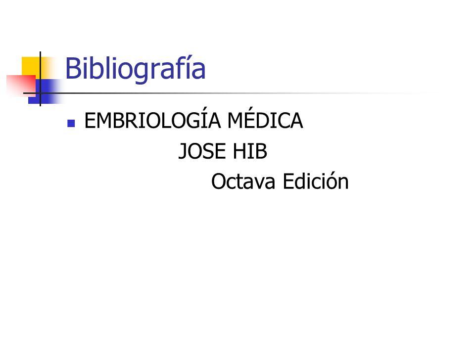 Bibliografía EMBRIOLOGÍA MÉDICA JOSE HIB Octava Edición