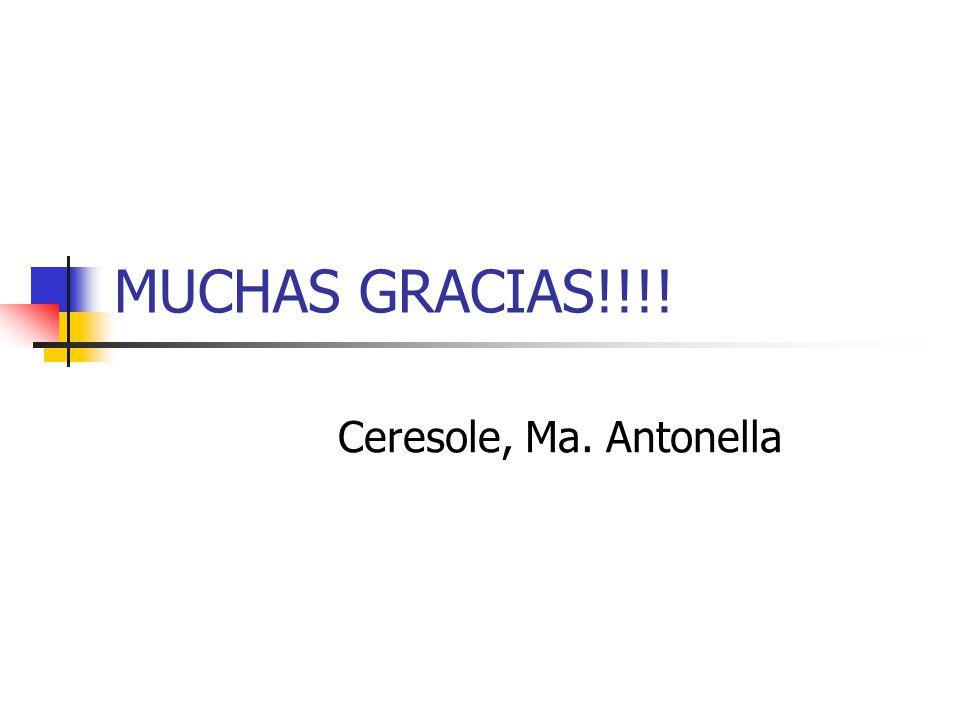 MUCHAS GRACIAS!!!! Ceresole, Ma. Antonella