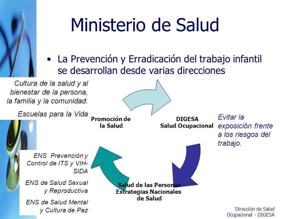 Ministerio de Salud La Prevención y Erradicación del trabajo infantil se desarrollan desde varias direcciones.