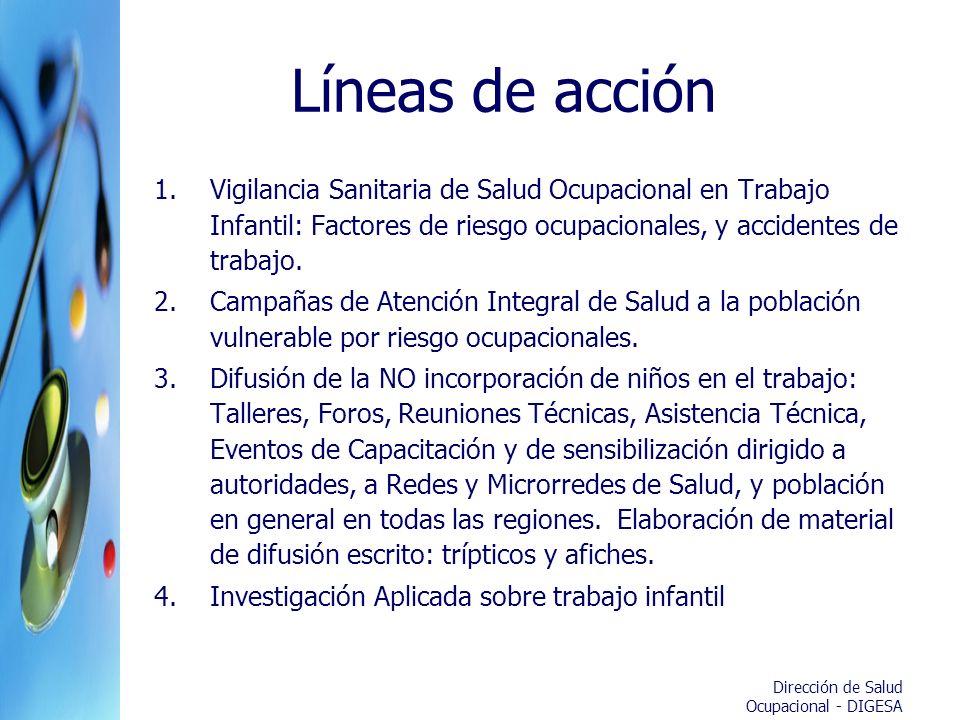 Líneas de acción Vigilancia Sanitaria de Salud Ocupacional en Trabajo Infantil: Factores de riesgo ocupacionales, y accidentes de trabajo.
