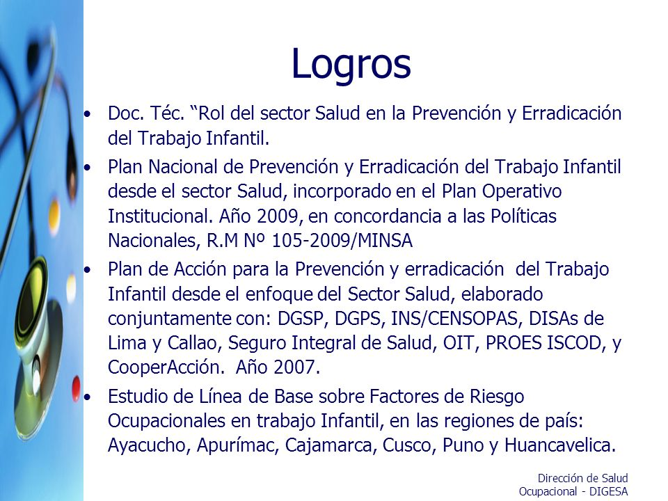 Logros Doc. Téc. Rol del sector Salud en la Prevención y Erradicación del Trabajo Infantil.