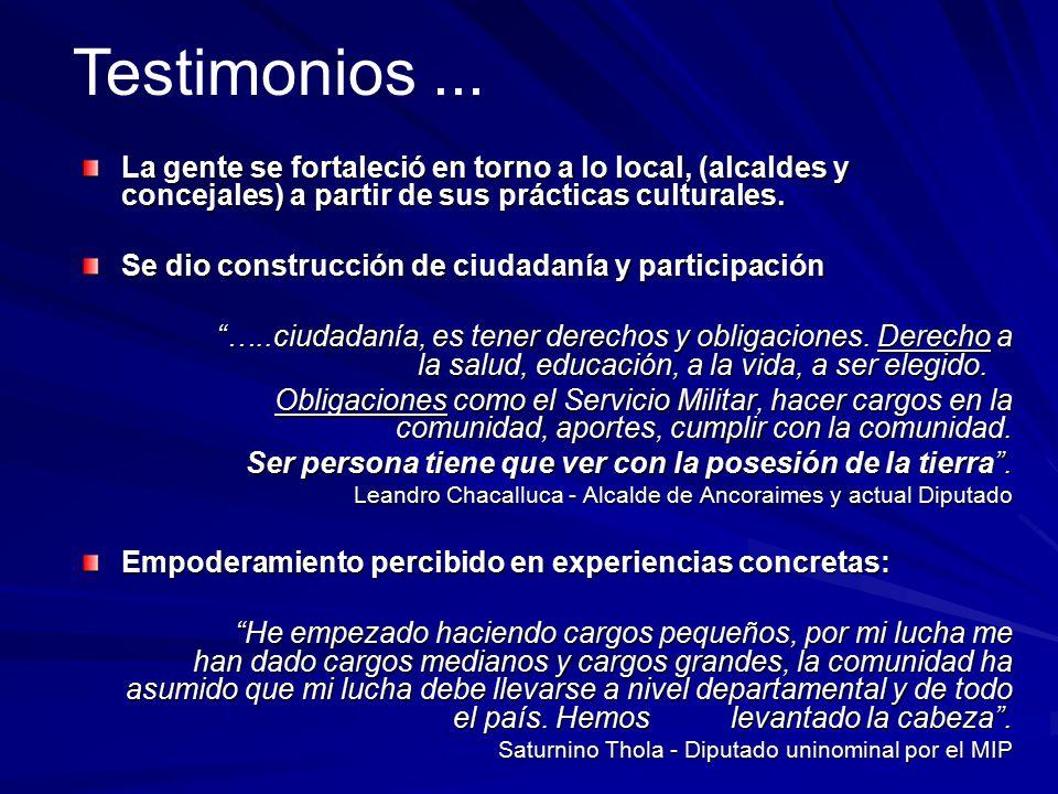 Testimonios ... La gente se fortaleció en torno a lo local, (alcaldes y concejales) a partir de sus prácticas culturales.
