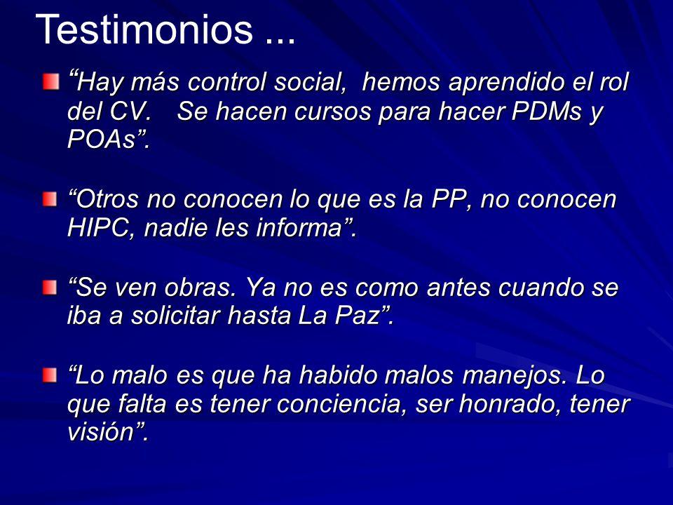 Testimonios ... Hay más control social, hemos aprendido el rol del CV. Se hacen cursos para hacer PDMs y POAs .