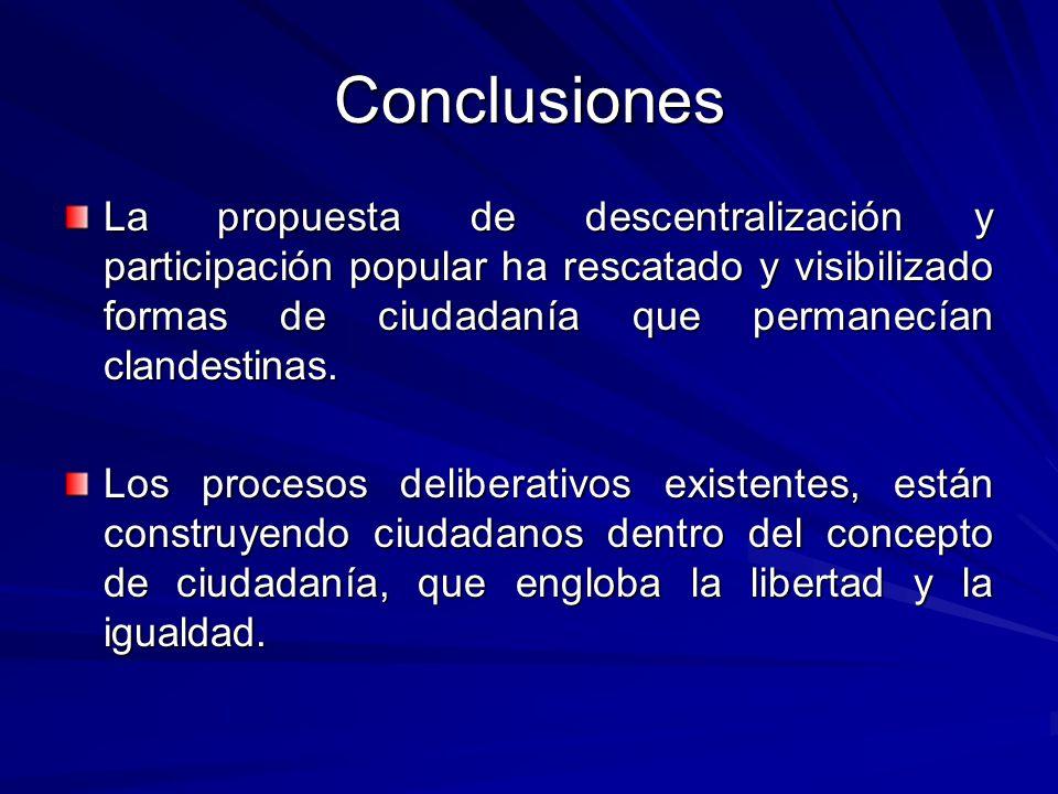 Conclusiones La propuesta de descentralización y participación popular ha rescatado y visibilizado formas de ciudadanía que permanecían clandestinas.