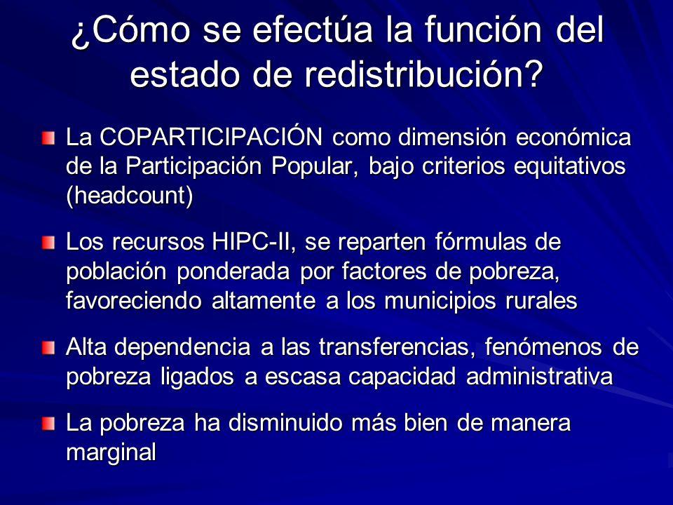 ¿Cómo se efectúa la función del estado de redistribución