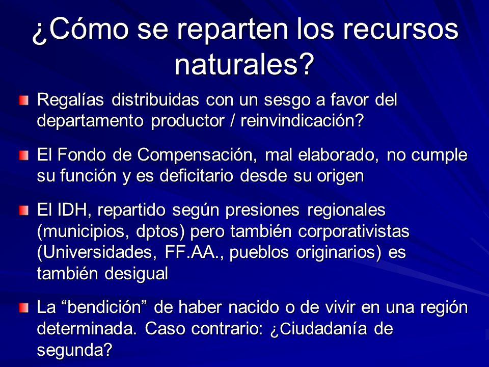 ¿Cómo se reparten los recursos naturales
