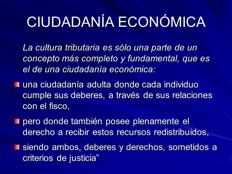 CIUDADANÍA ECONÓMICA La cultura tributaria es sólo una parte de un concepto más completo y fundamental, que es el de una ciudadanía económica: