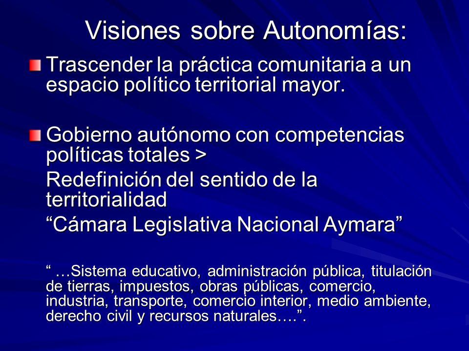 Visiones sobre Autonomías: