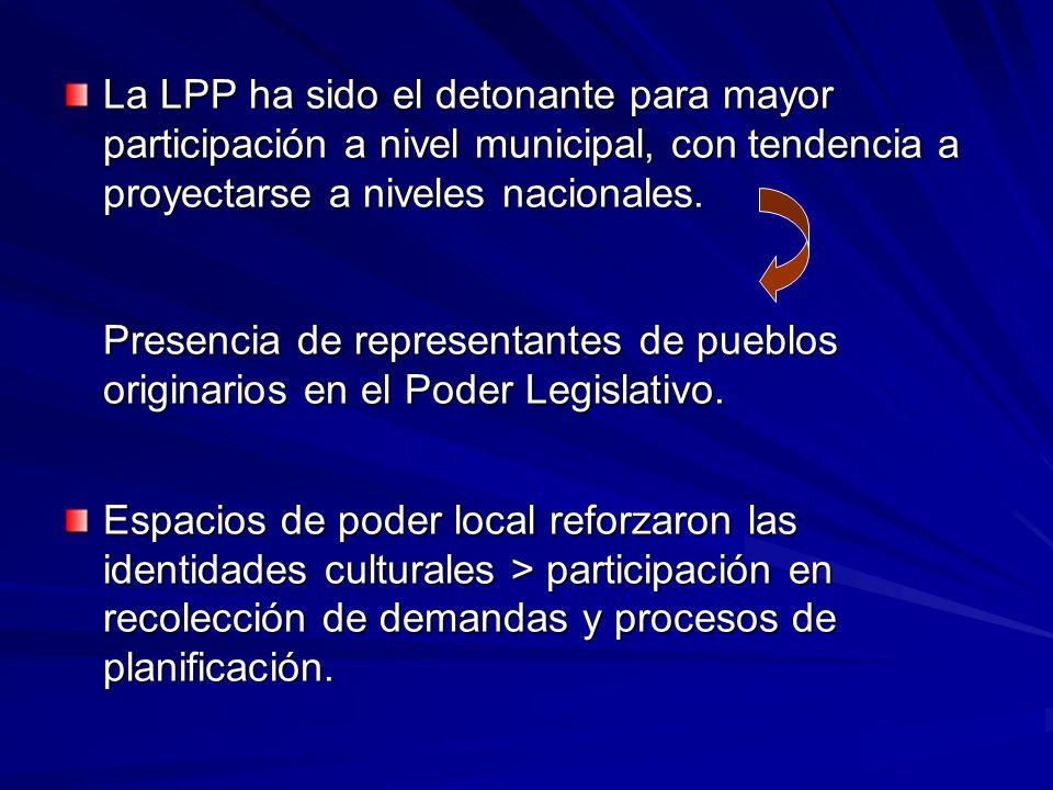 La LPP ha sido el detonante para mayor participación a nivel municipal, con tendencia a proyectarse a niveles nacionales.