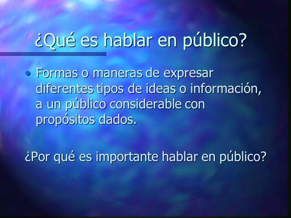 ¿Qué es hablar en público