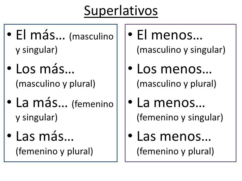 El más… (masculino y singular) Los más… (masculino y plural)