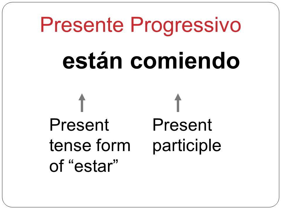 Presente Progressivo están comiendo Present tense form of estar
