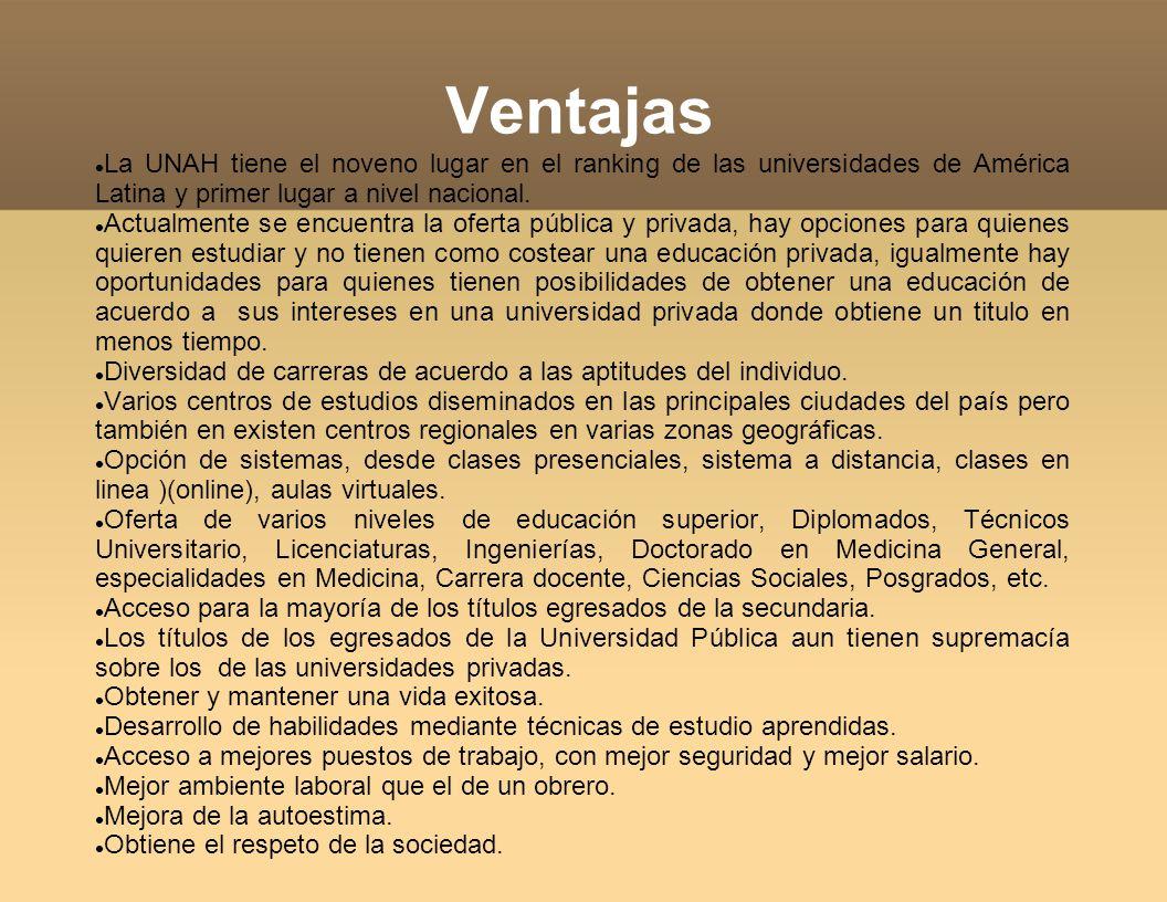 Ventajas La UNAH tiene el noveno lugar en el ranking de las universidades de América Latina y primer lugar a nivel nacional.