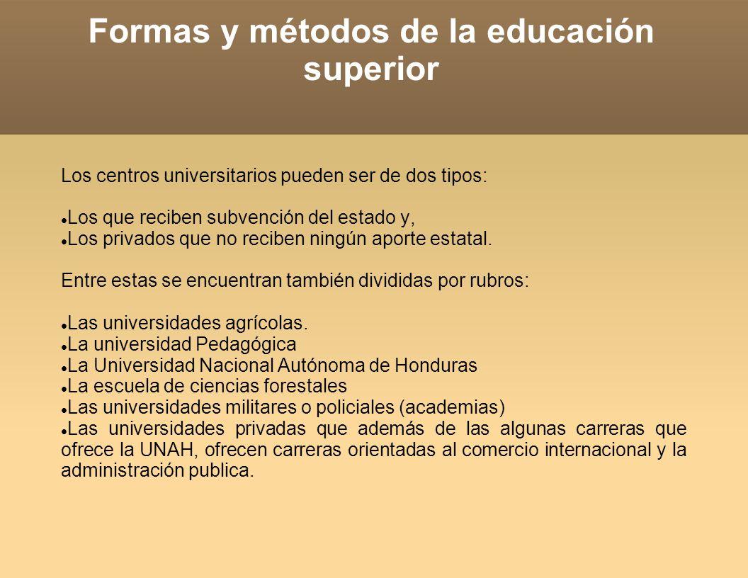 Formas y métodos de la educación superior