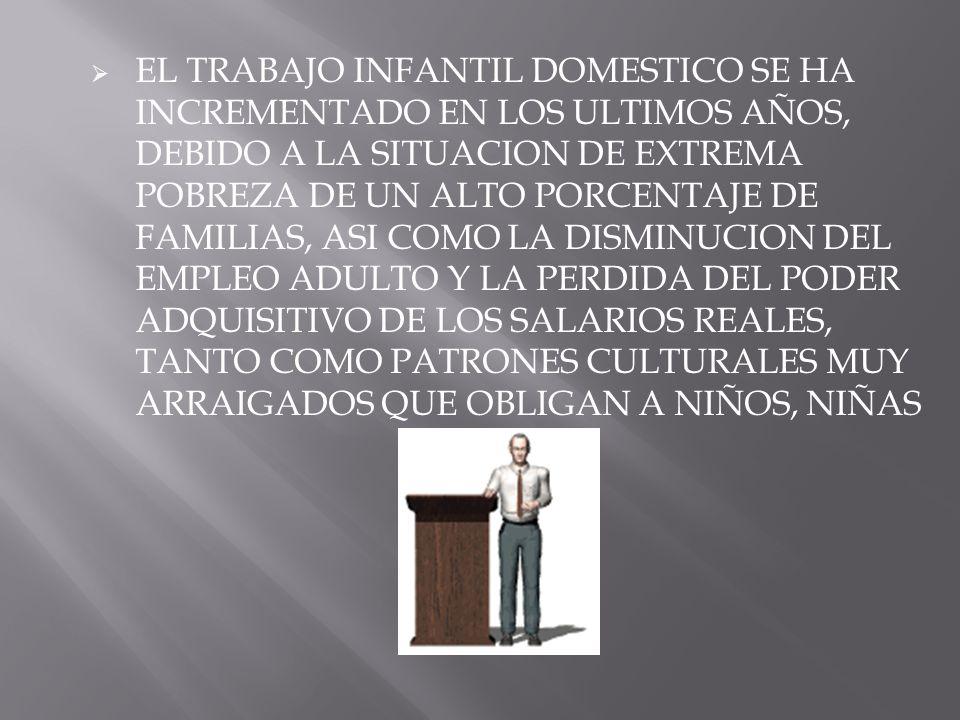EL TRABAJO INFANTIL DOMESTICO SE HA INCREMENTADO EN LOS ULTIMOS AÑOS, DEBIDO A LA SITUACION DE EXTREMA POBREZA DE UN ALTO PORCENTAJE DE FAMILIAS, ASI COMO LA DISMINUCION DEL EMPLEO ADULTO Y LA PERDIDA DEL PODER ADQUISITIVO DE LOS SALARIOS REALES, TANTO COMO PATRONES CULTURALES MUY ARRAIGADOS QUE OBLIGAN A NIÑOS, NIÑAS