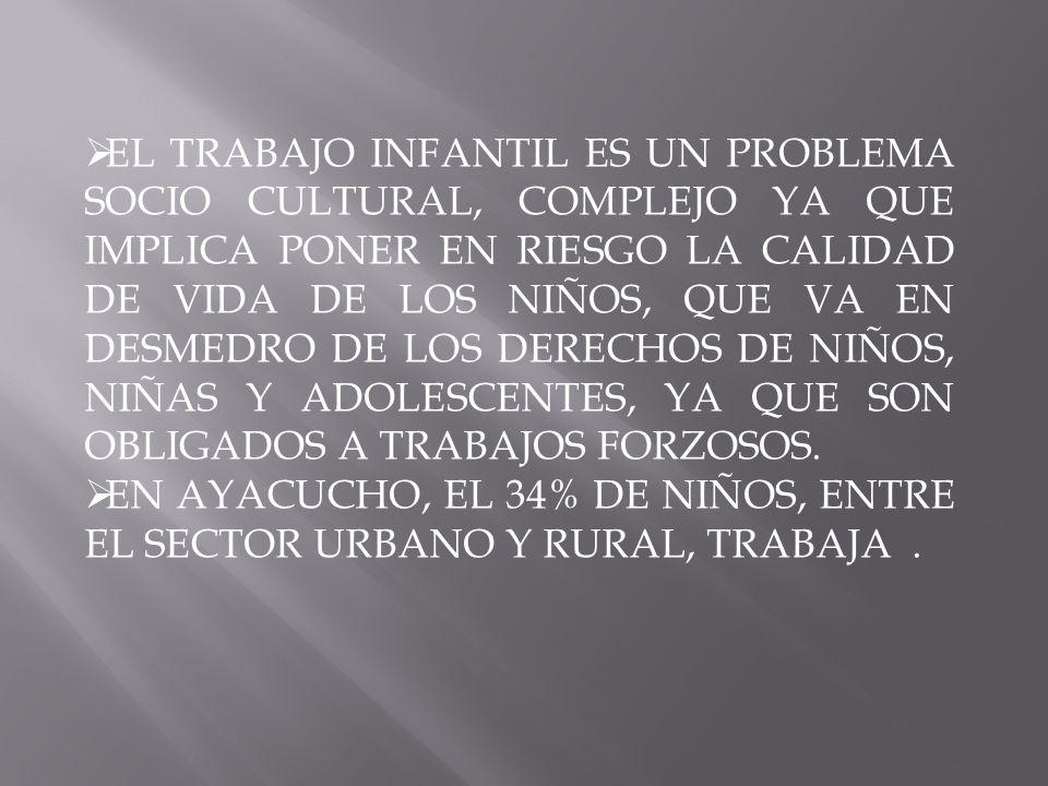 EL TRABAJO INFANTIL ES UN PROBLEMA SOCIO CULTURAL, COMPLEJO YA QUE IMPLICA PONER EN RIESGO LA CALIDAD DE VIDA DE LOS NIÑOS, QUE VA EN DESMEDRO DE LOS DERECHOS DE NIÑOS, NIÑAS Y ADOLESCENTES, YA QUE SON OBLIGADOS A TRABAJOS FORZOSOS.