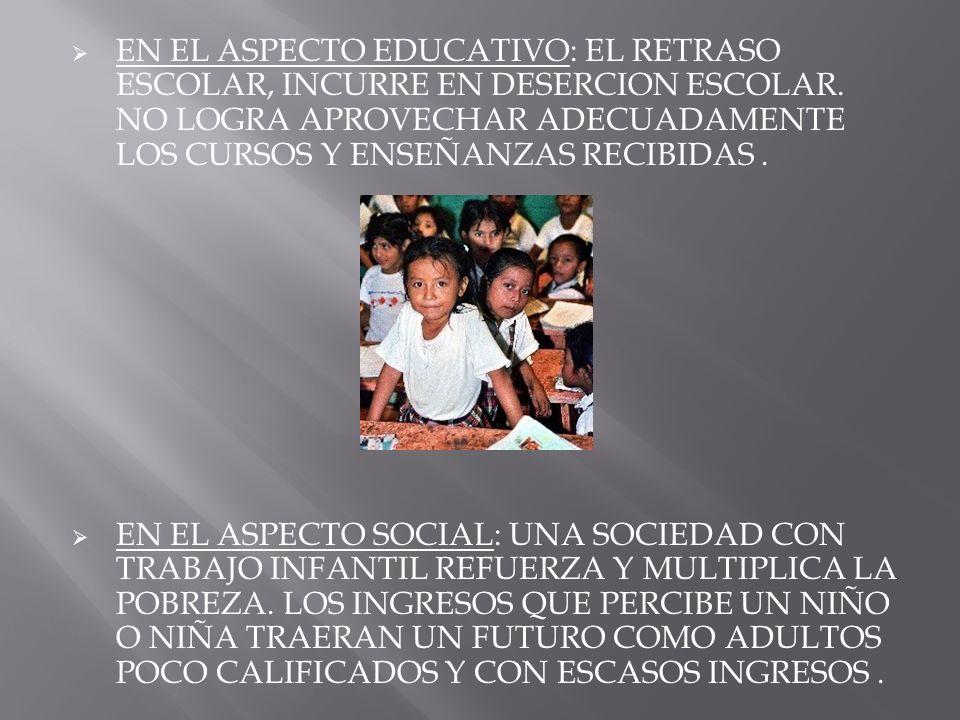 EN EL ASPECTO EDUCATIVO: EL RETRASO ESCOLAR, INCURRE EN DESERCION ESCOLAR. NO LOGRA APROVECHAR ADECUADAMENTE LOS CURSOS Y ENSEÑANZAS RECIBIDAS .