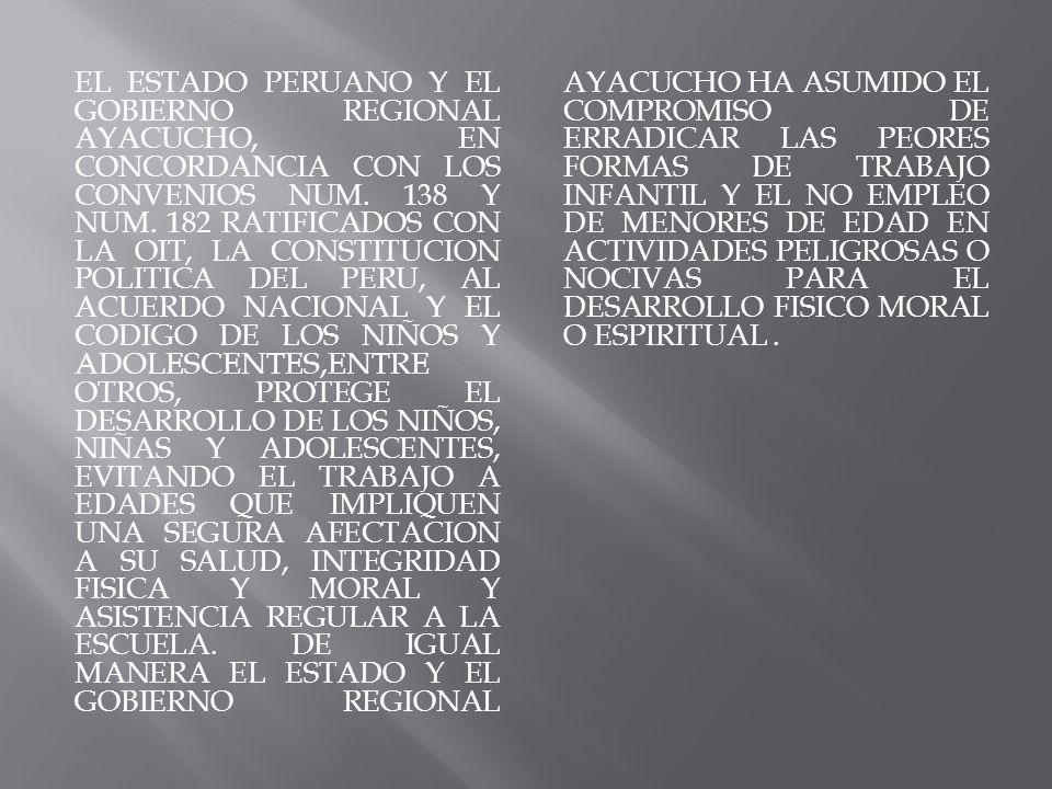 EL ESTADO PERUANO Y EL GOBIERNO REGIONAL AYACUCHO, EN CONCORDANCIA CON LOS CONVENIOS NUM.