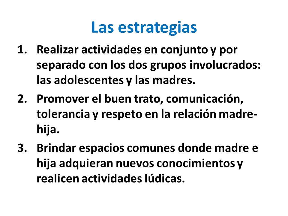 Las estrategias Realizar actividades en conjunto y por separado con los dos grupos involucrados: las adolescentes y las madres.