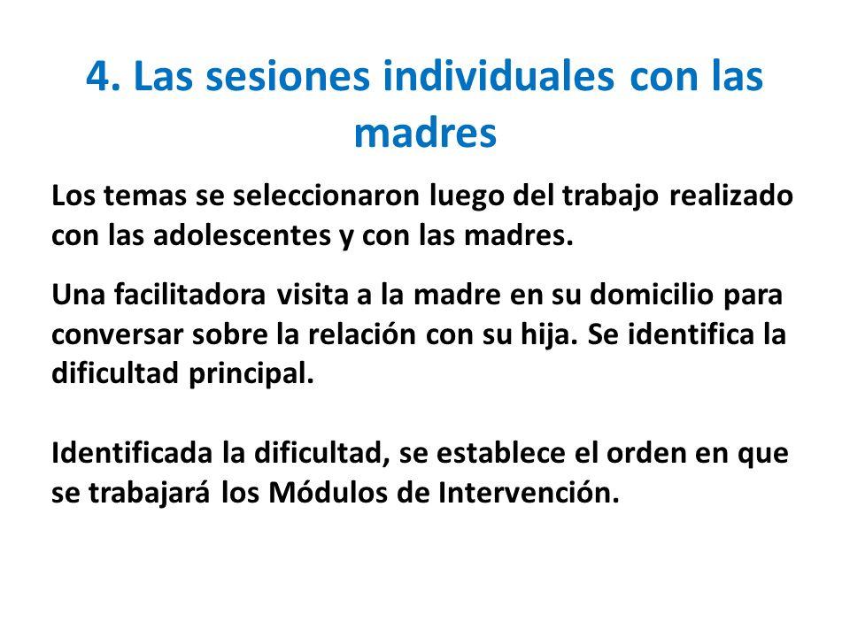 4. Las sesiones individuales con las madres