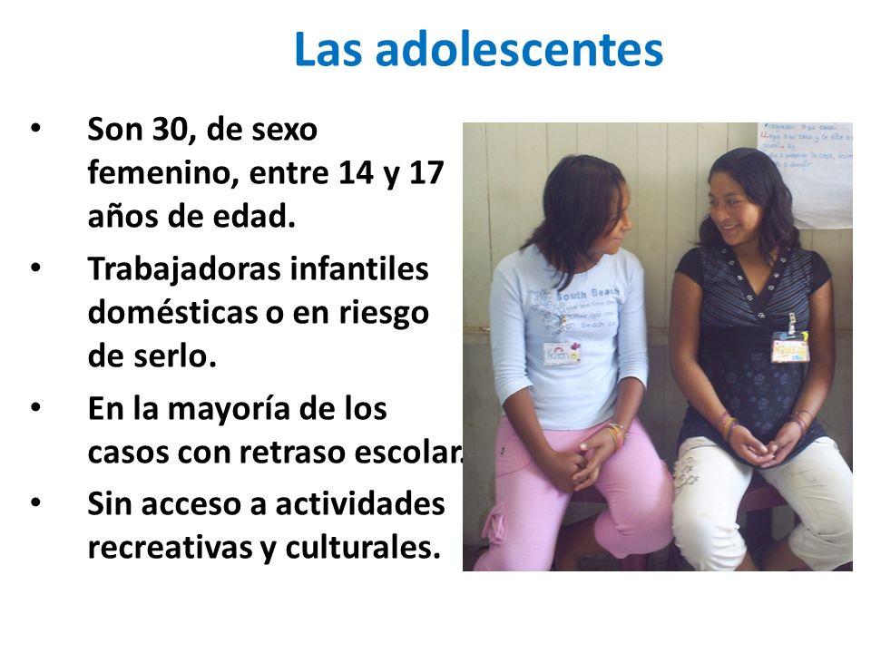 Las adolescentes Son 30, de sexo femenino, entre 14 y 17 años de edad.
