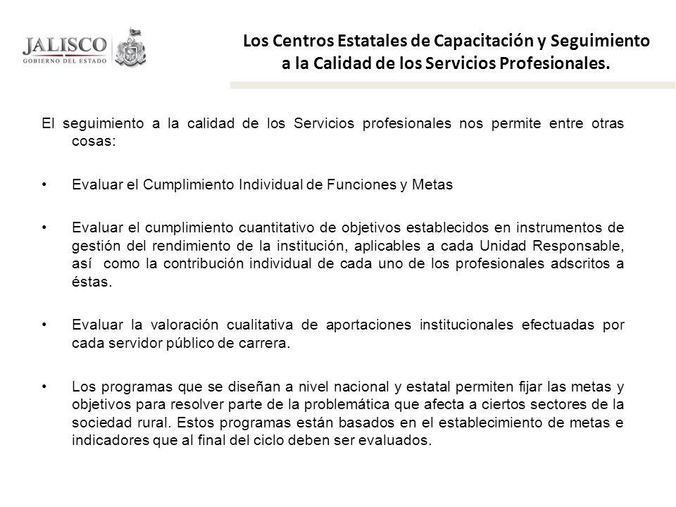 Los Centros Estatales de Capacitación y Seguimiento a la Calidad de los Servicios Profesionales.