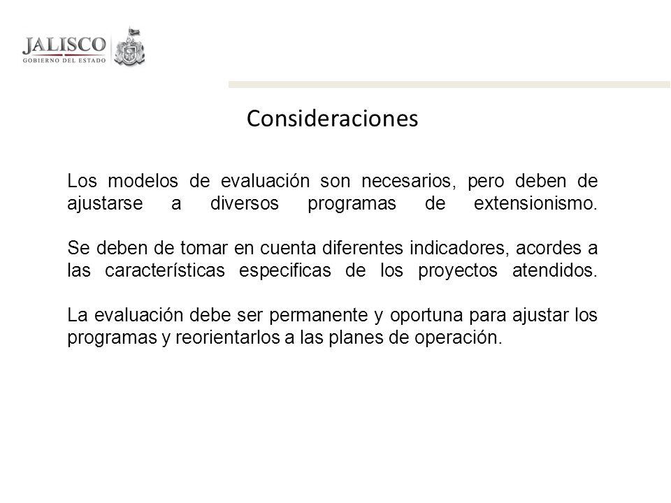 Consideraciones Los modelos de evaluación son necesarios, pero deben de ajustarse a diversos programas de extensionismo.