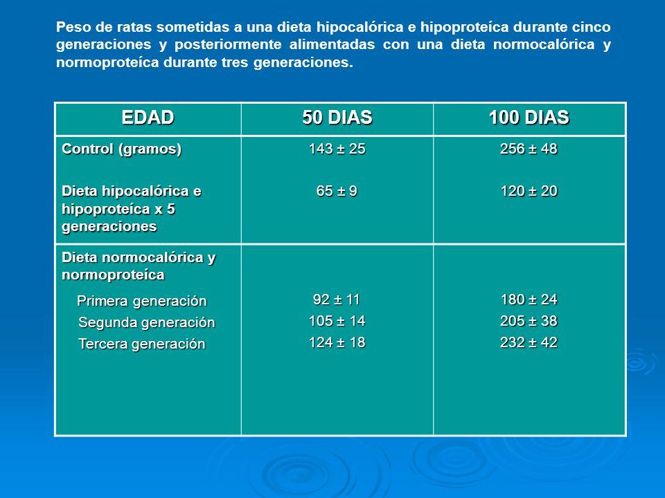 EDAD 50 DIAS 100 DIAS Primera generación
