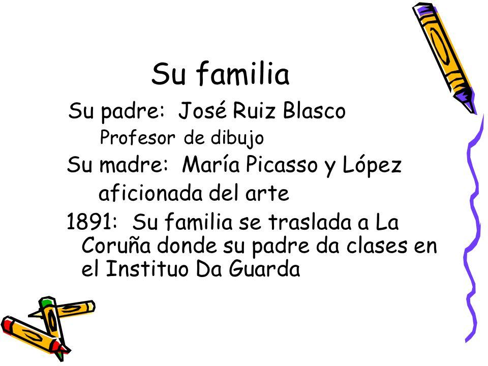 Su familia Su padre: José Ruiz Blasco Su madre: María Picasso y López