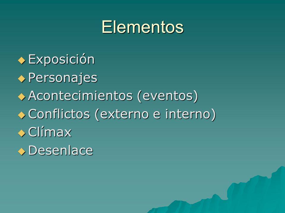 Elementos Exposición Personajes Acontecimientos (eventos)