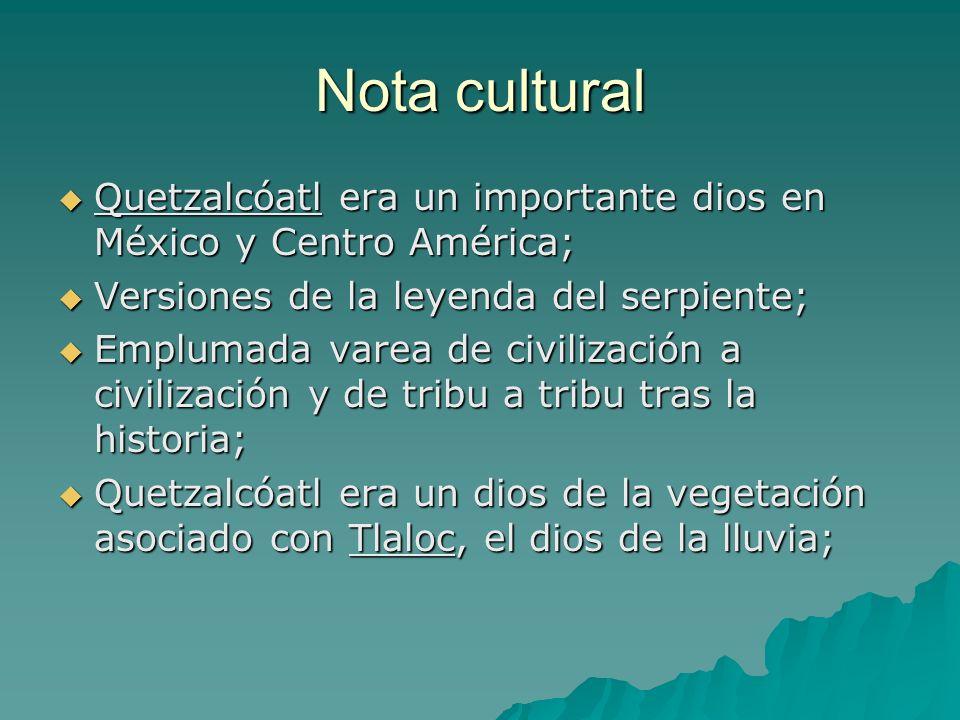 Nota culturalQuetzalcóatl era un importante dios en México y Centro América; Versiones de la leyenda del serpiente;