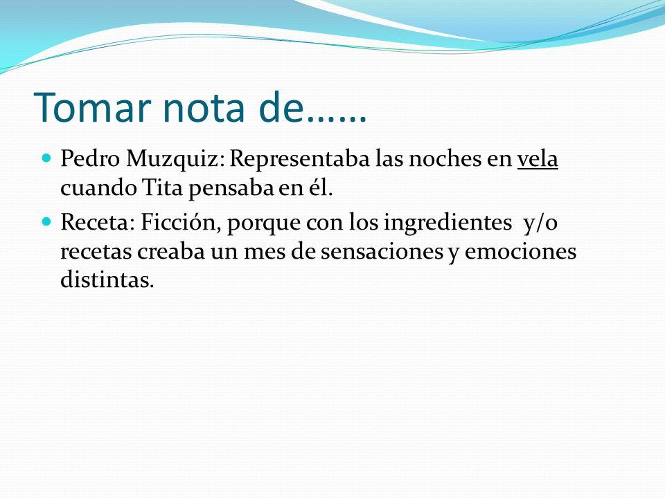Tomar nota de……Pedro Muzquiz: Representaba las noches en vela cuando Tita pensaba en él.