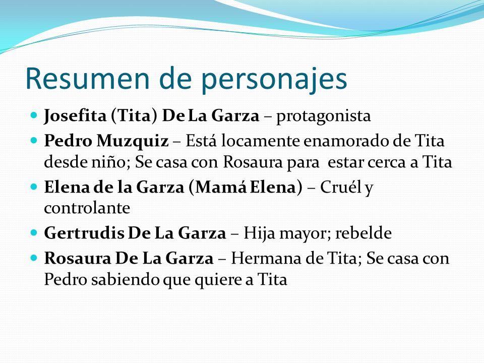 Resumen de personajes Josefita (Tita) De La Garza – protagonista