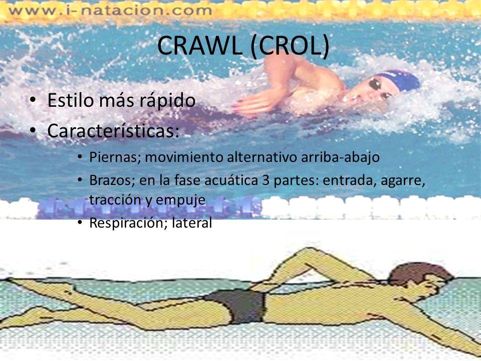 CRAWL (CROL) Estilo más rápido Características: