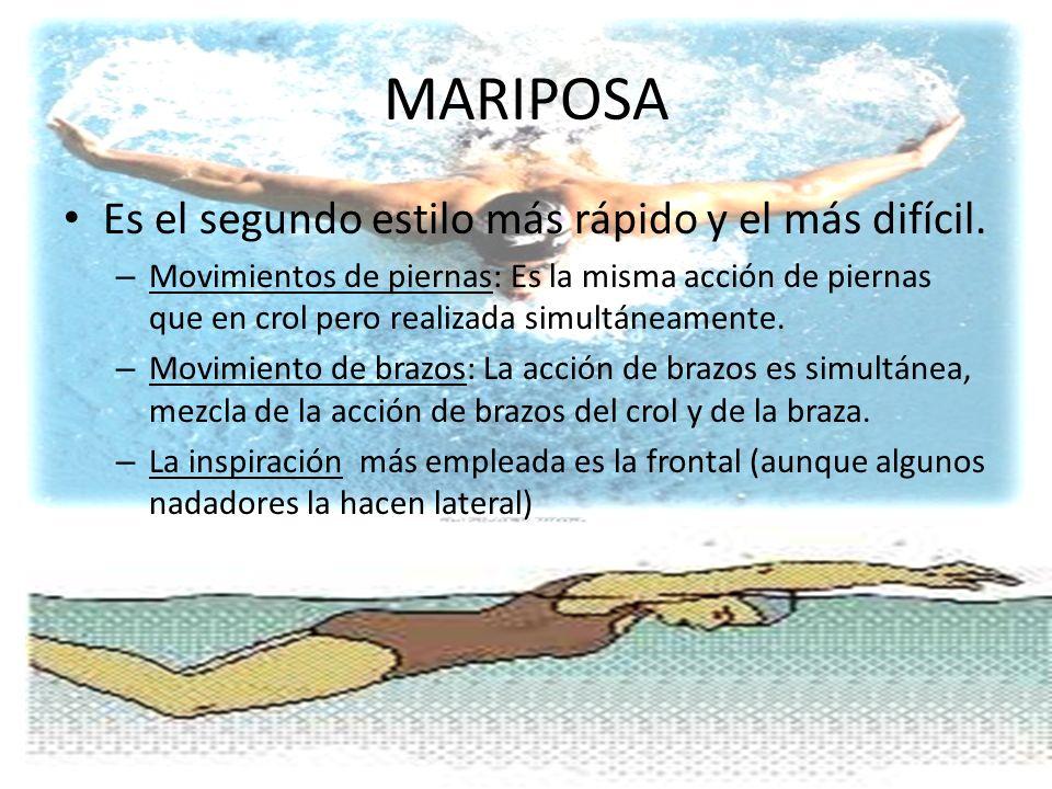 MARIPOSA Es el segundo estilo más rápido y el más difícil.