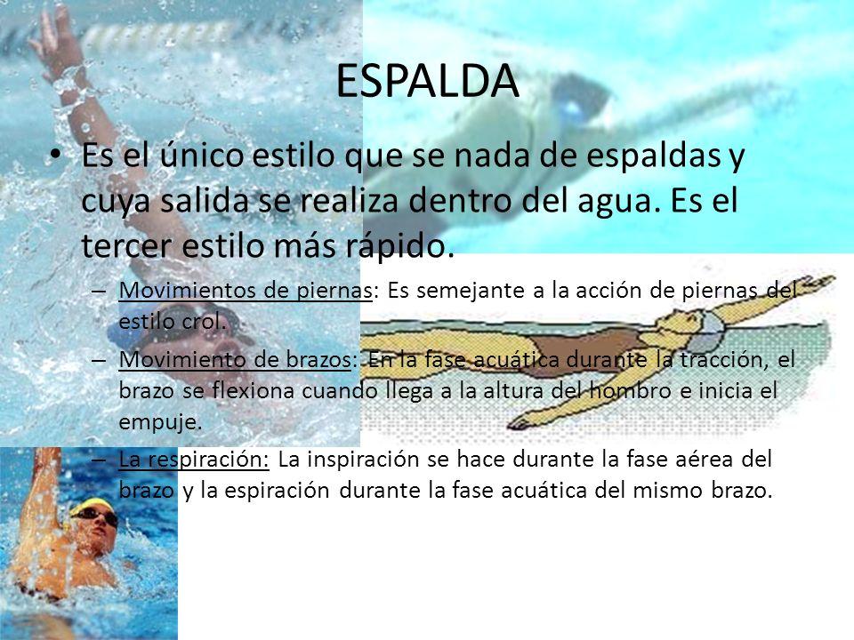 ESPALDA Es el único estilo que se nada de espaldas y cuya salida se realiza dentro del agua. Es el tercer estilo más rápido.