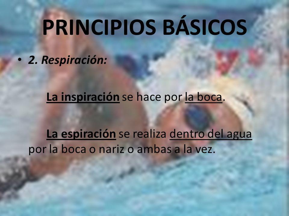 PRINCIPIOS BÁSICOS 2. Respiración: La inspiración se hace por la boca.