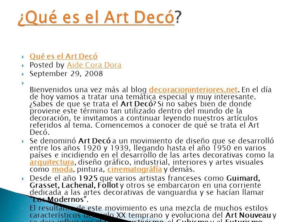 ¿Qué es el Art Decó Qué es el Art Decó Posted by Aide Cora Dora