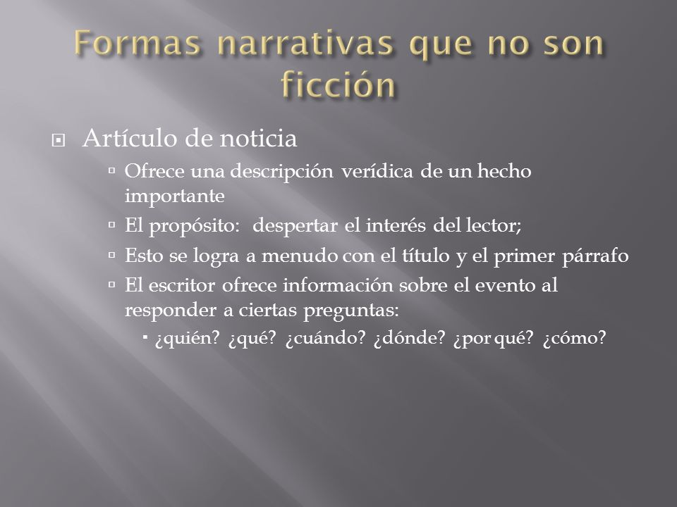 Formas narrativas que no son ficción