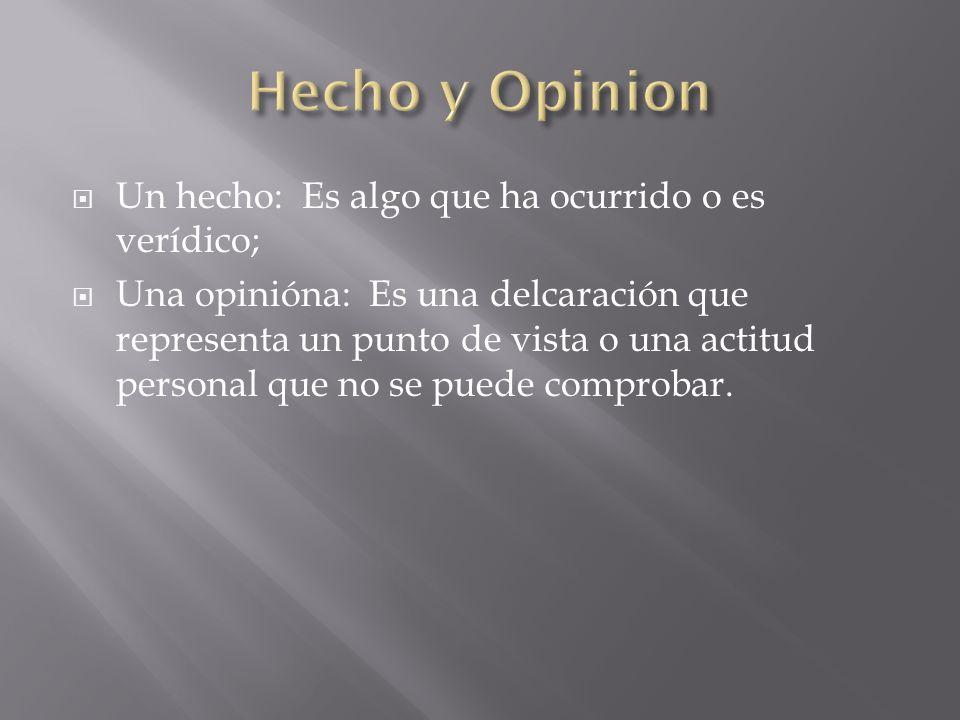 Hecho y Opinion Un hecho: Es algo que ha ocurrido o es verídico;