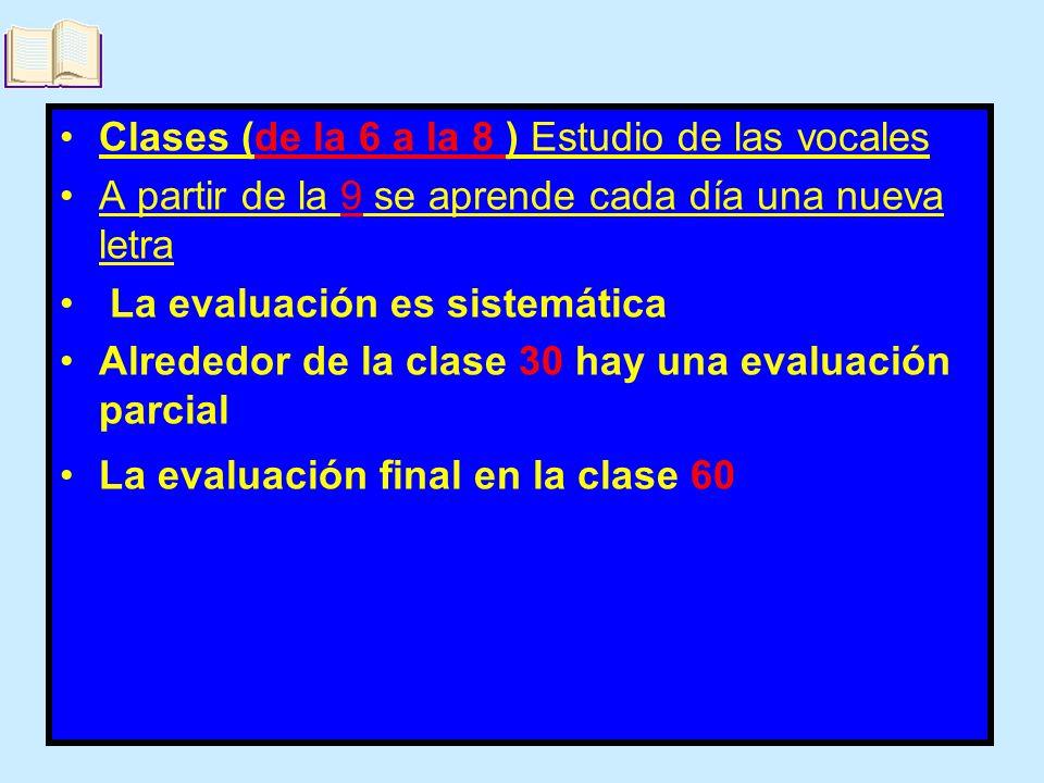 Clases (de la 6 a la 8 ) Estudio de las vocales