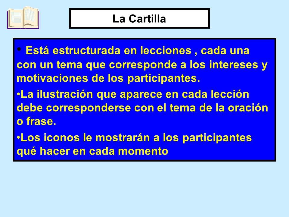 La Cartilla Está estructurada en lecciones , cada una con un tema que corresponde a los intereses y motivaciones de los participantes.