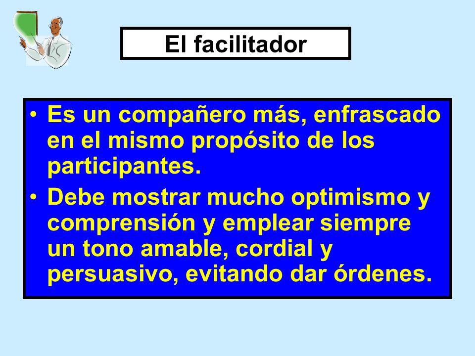 El facilitador Es un compañero más, enfrascado en el mismo propósito de los participantes.